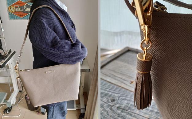 ヴォーエプソンで作製したショルダーバッグです。オプションで同じ革でタッセルも付けてあります。